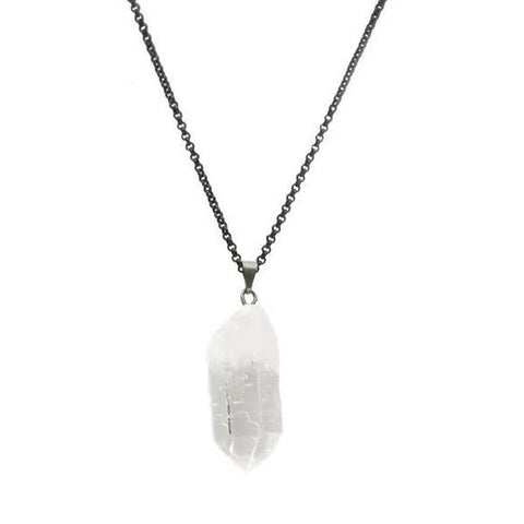 Raw Clear Quartz Crystal Necklace For Sale