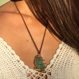 Green Calcite Crystal Necklace