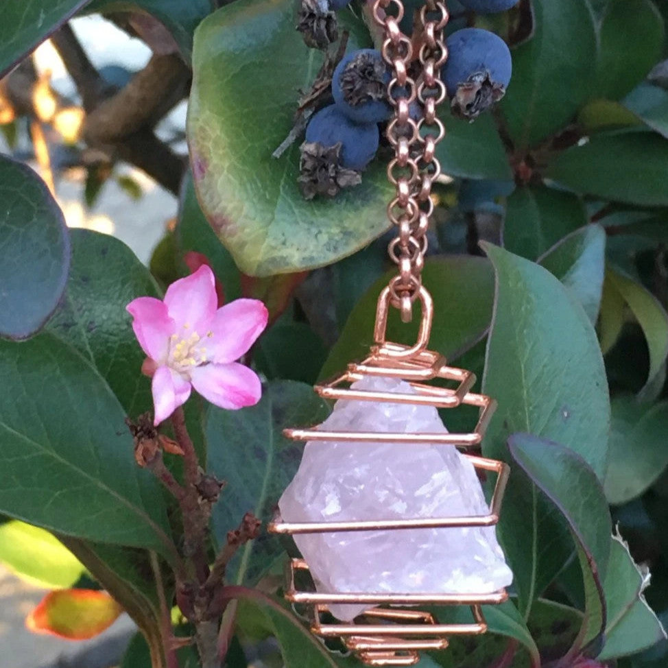 Rose Quartz Crystal Necklace For Sale