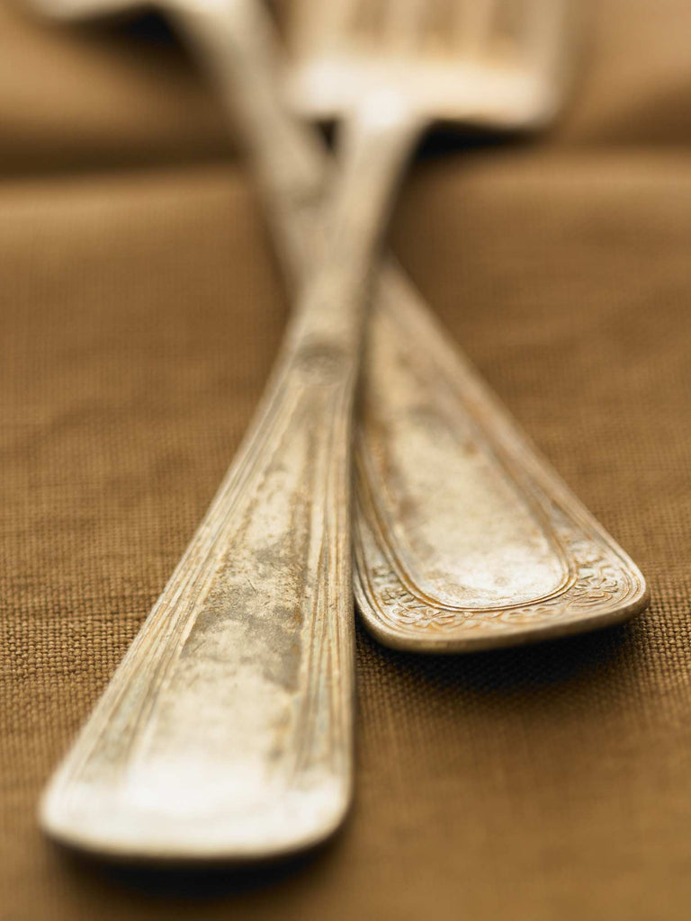 Print of two silver forks on brown linen | Fresh Food Prints