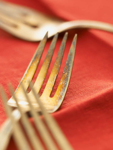 Print of three antique silver forks on red linen | Fresh Food Prints