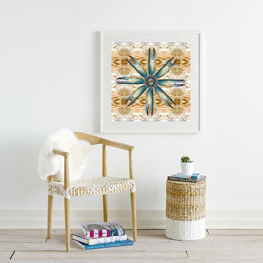 Print of Blue Crab Kaleidoscope Of Food Square