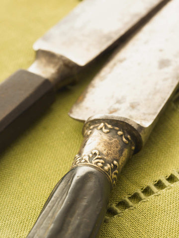 Print of Carving Knives on Green Linen