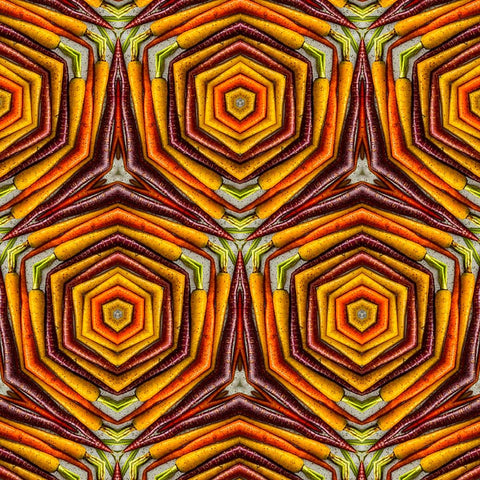 Print of Colored Carrots Kaleidoscope of Food #3 Square