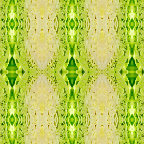 Print of green cabbage kaleidoscope of food | Fresh Food Prints
