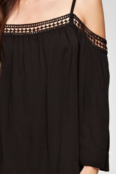 Brexley Cold Shoulder Top- Black
