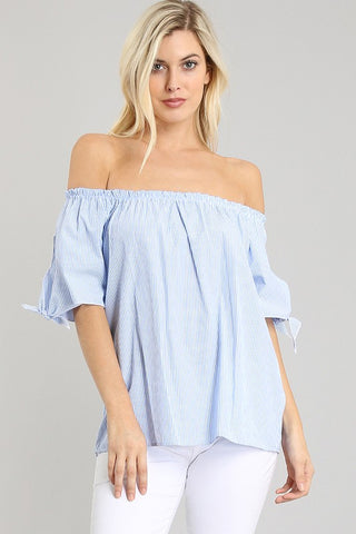 Farah Striped Off The Shoulder Top - Light Blue