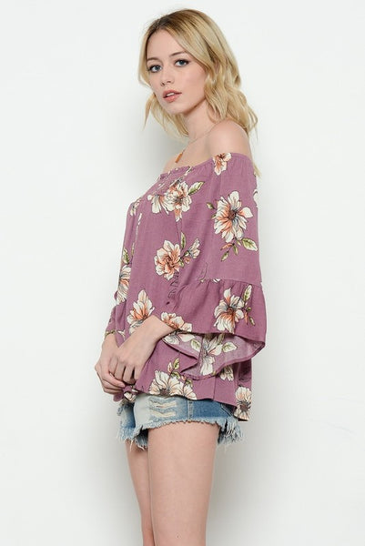 Josey Off The Shoulder Top- Plum