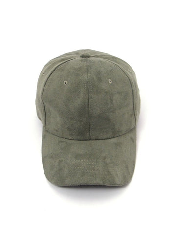 Sorority Girl Suede Baseball Cap - Olive Green