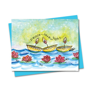 5.5x4.25 Peace, Love & Light Lamps Notecard