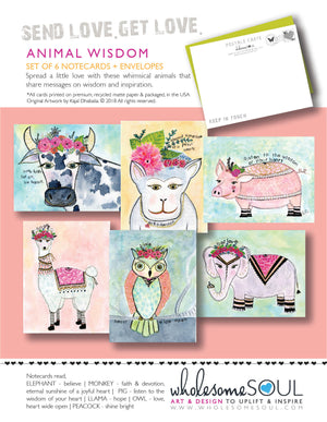 Animal Wisdom Assorted Notecard Set of 6 | PRE-ORDER!