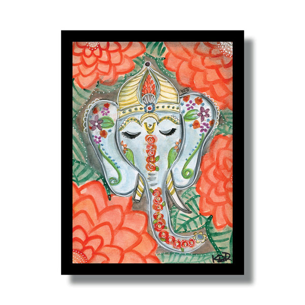 Ganesh Painted Woodblock