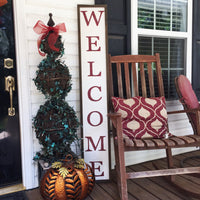Welcome sign with frame; porch sign; vertical welcome sign 12x60