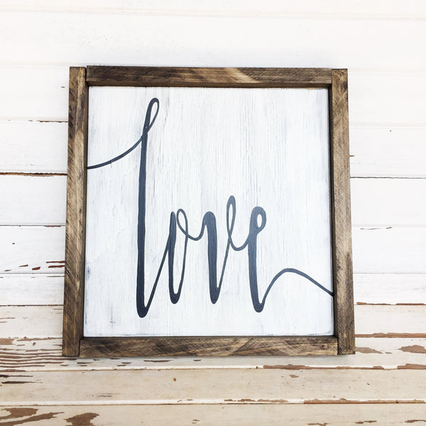 Love wooden sign; wood sign with frame