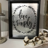 Live Simply Wood Framed Metal Wall Sign