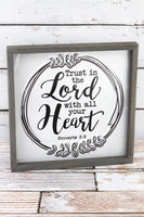 Trust in the Lord framed metal sign