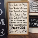 Just As I Am Hand Painted Wooden Sign