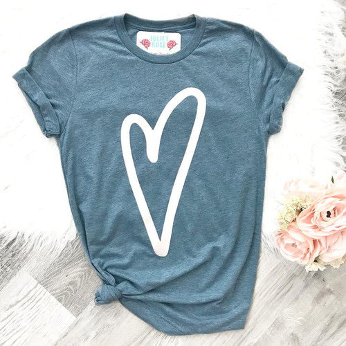 Hand drawn heart t-shirt