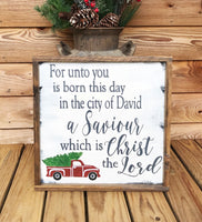 Luke 2:11 with vintage red truck