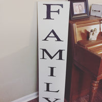 Family Vertical Wood Sign