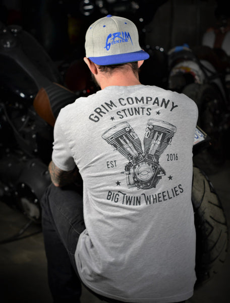 Grim Company - Big Twin Wheelies T-Shirt Gray