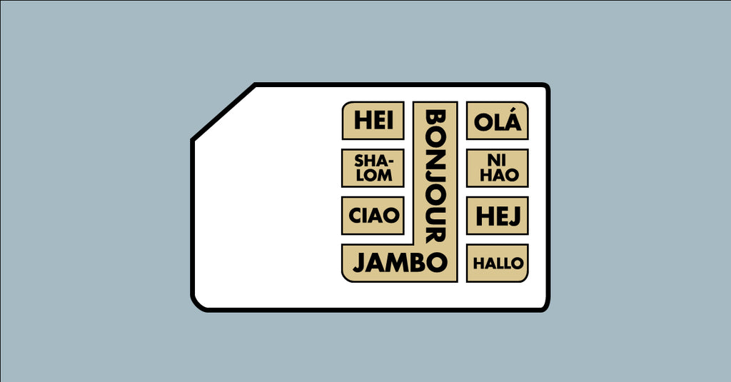 "A sim card with numerous ways of saying ""Hello"" in different languages."
