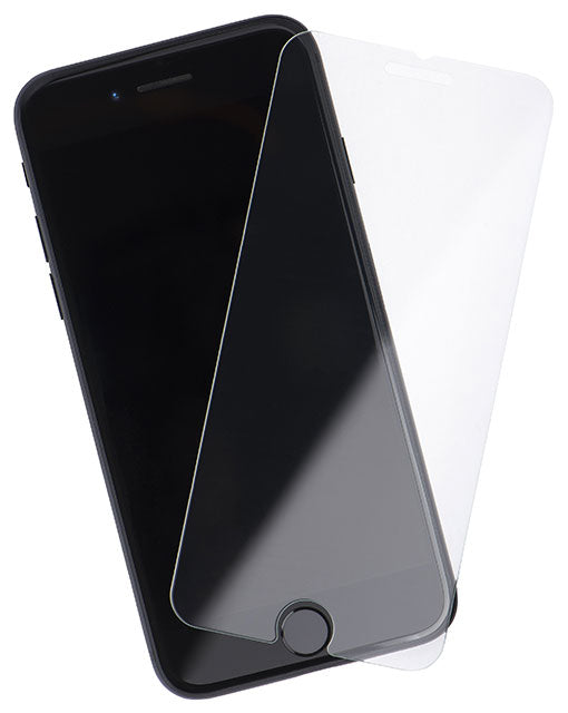 An iPhone screen protector made of tempered glass hovering over an iPhone 6