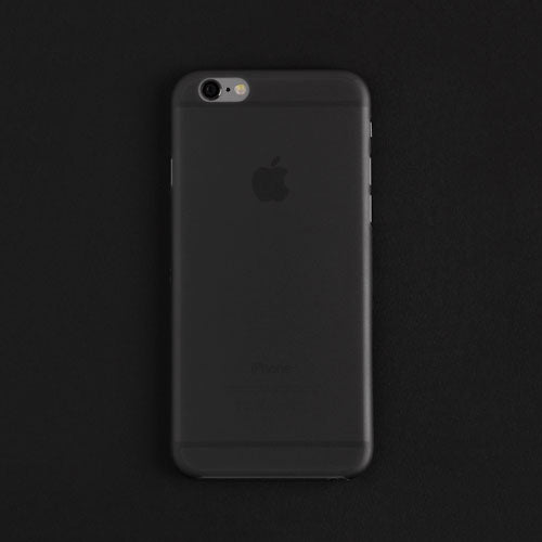 Back view of a black thin iphone case on a black background