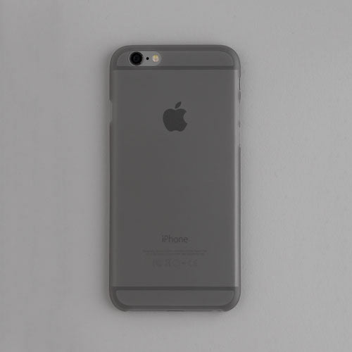 Back view of a grey thin iphone case on a grey background