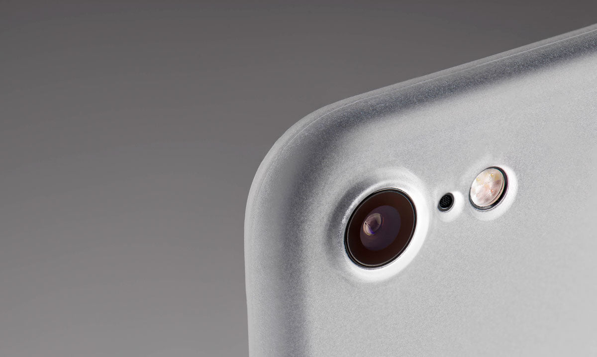 A close up of a thin iPhone 7 case protecting the iPhone 7 camera