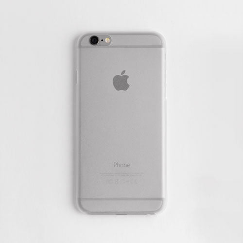 Back view of a white thin iphone case on a white background