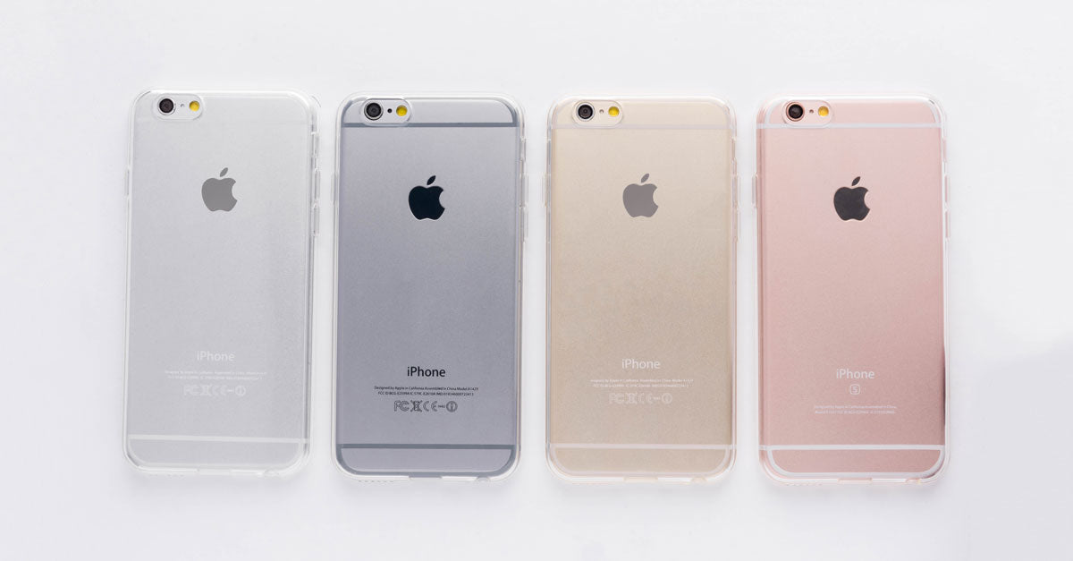 totallee's clear iPhone case, the Spy, on the grey, space grey, gold and rose gold iPhones