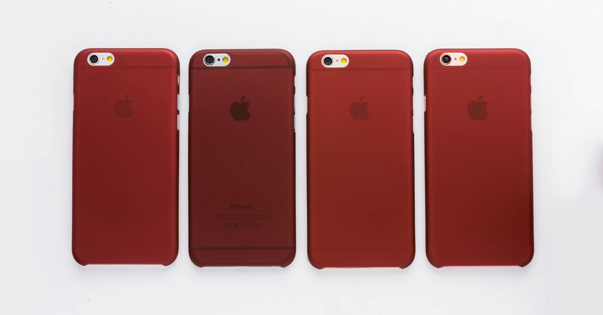 totallee's thin burgundy red iPhone case, the Scarf, on the grey, space grey, gold and rose gold iPhones