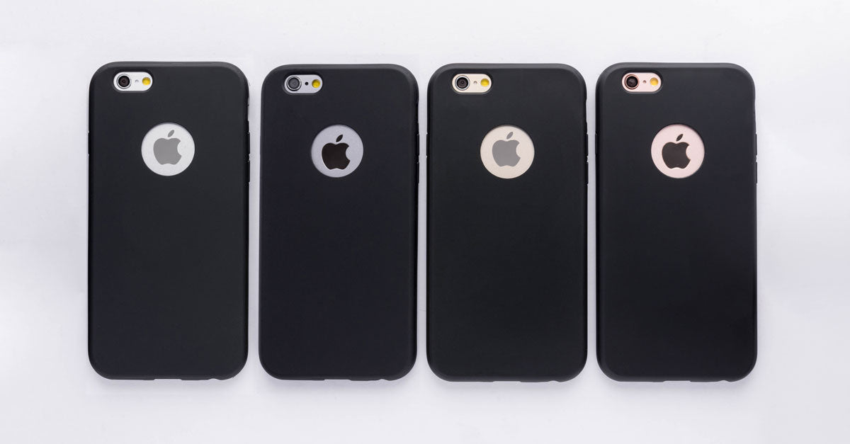 totallee's slim black iPhone case, the Doberman, on the grey, space grey, gold and rose gold iPhones