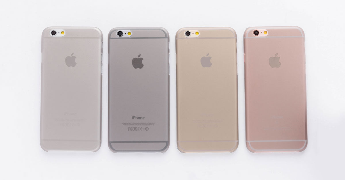 totallee's thin grey iPhone case, the Scarf, on the grey, space grey, gold and rose gold iPhones