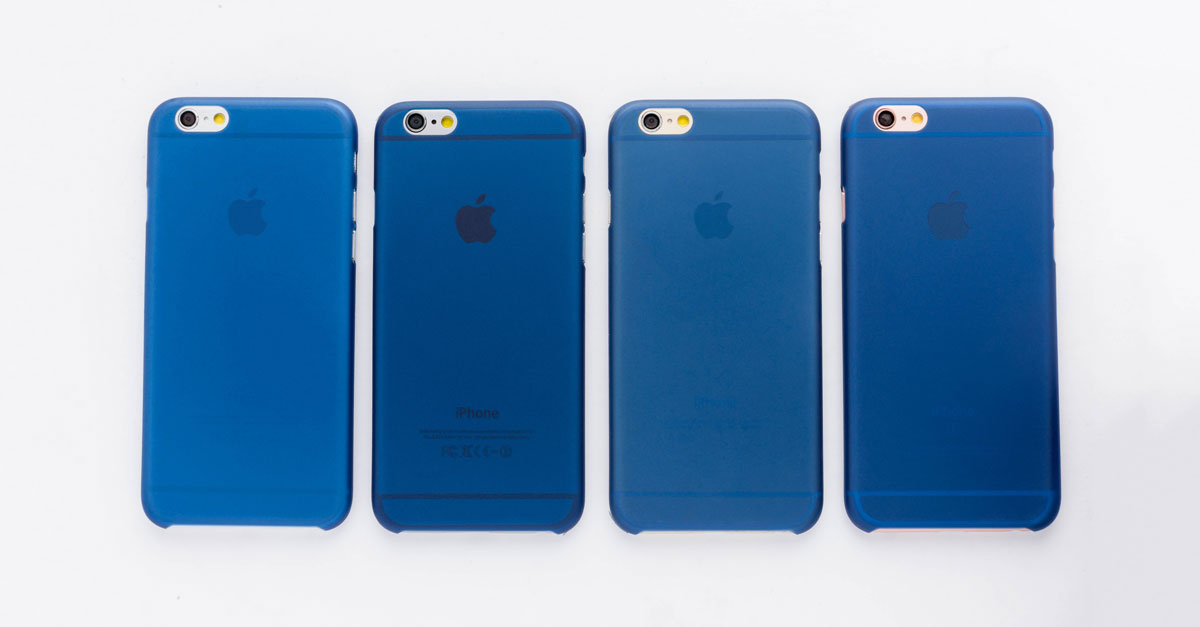 totallee's thin navy blue iPhone case, the Scarf, on the grey, space grey, gold and rose gold iPhones