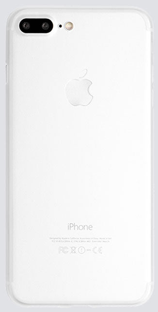 Back view of a thin iPhone case in white, made by Totallee
