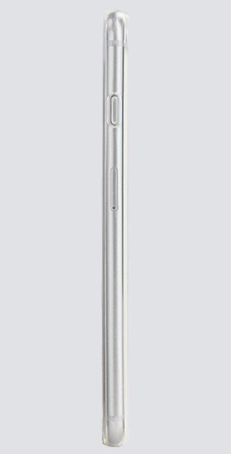 Side view of a clear and thin iPhone case, made by Totallee