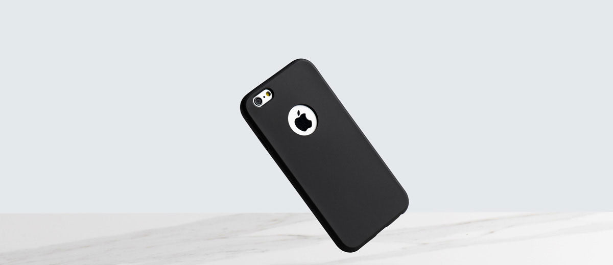totallee's black iphone case, the doberman, protecting a falling iphone.