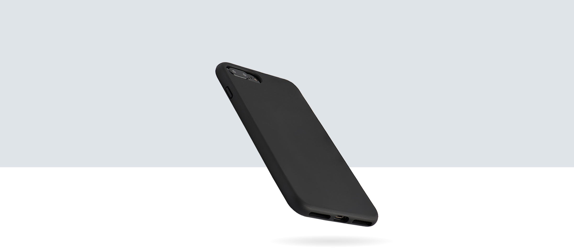 A black and protective iPhone case, made by totallee, protecting a falling iPhone