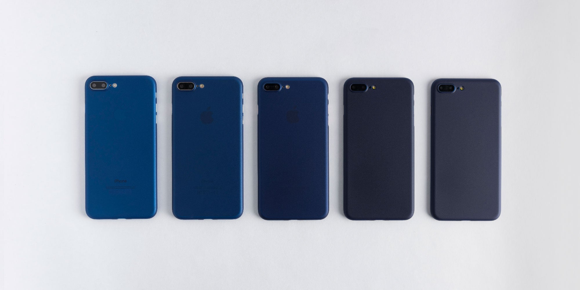 totallee navy blue case on Rose Gold, Silver, Gold, Black, and Jet Black iPhone 7