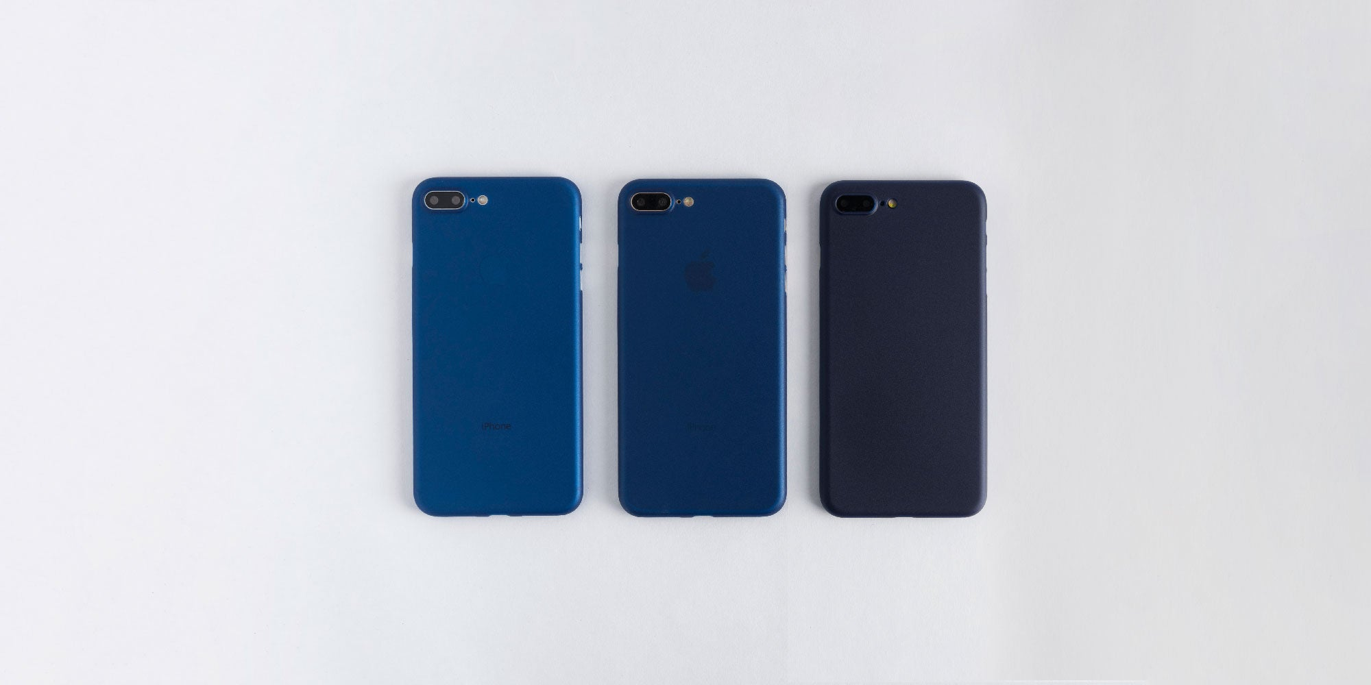 totallee Navy case on Space Grey, Silver, and Gold iPhone 8
