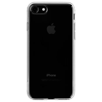Back view of a thin and transparent iPhone case for the Jet Black iPhone 7