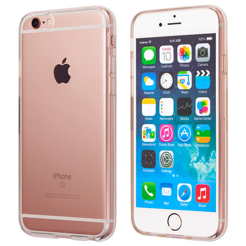 A front and back view of totallee's clear iPhone case on a rose gold iPhone
