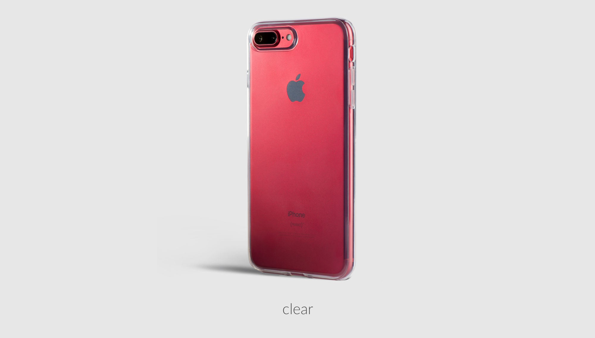 a clear iPhone case on red iPhone 7 Plus