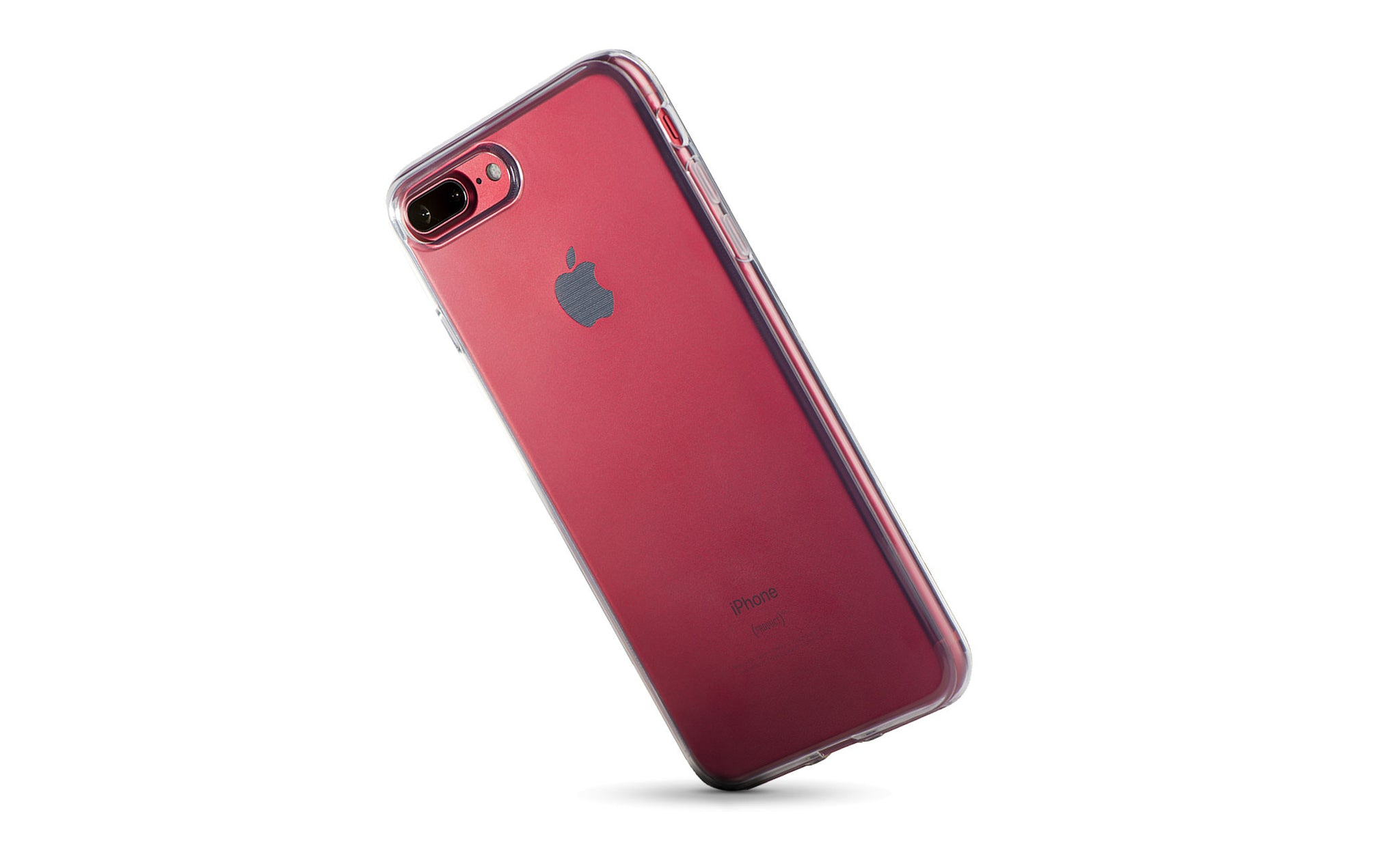 A clear iPhone case on the red iPhone 7 Plus