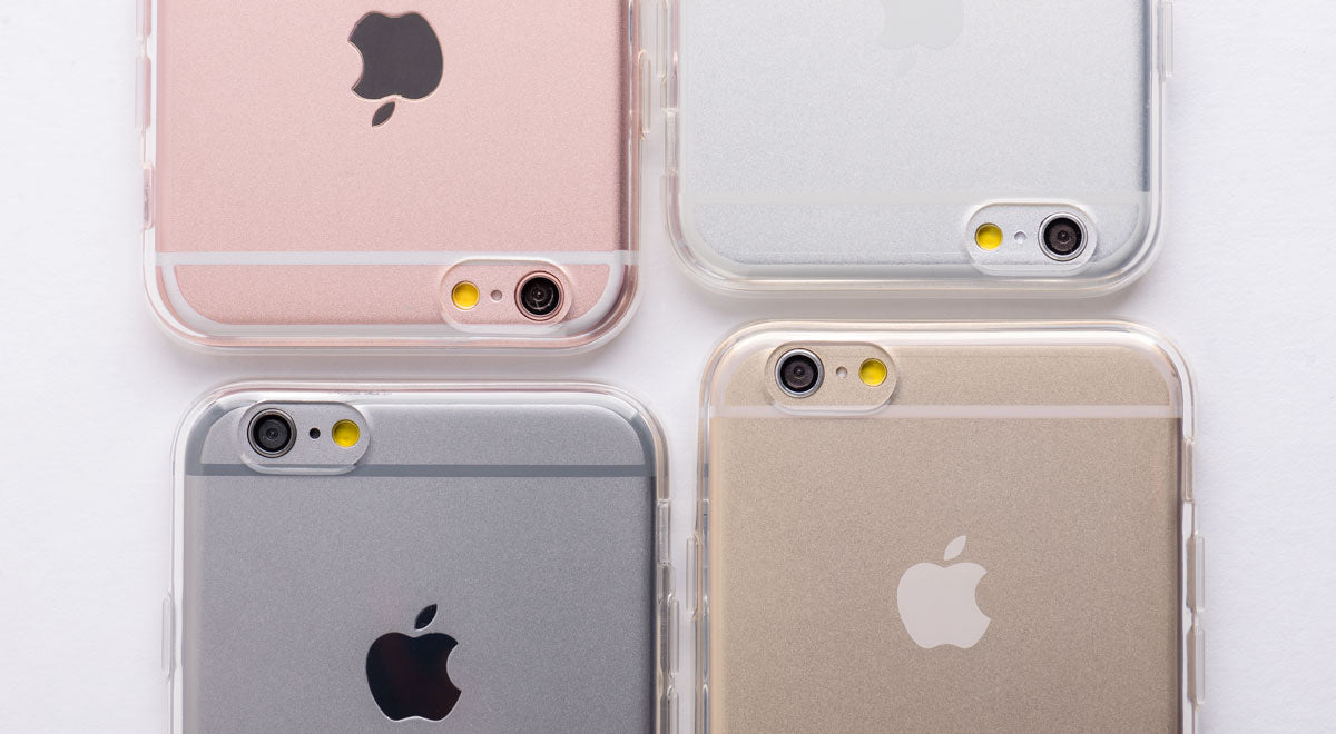 totallee's transparent case on the iphone 6s in space grey, white, gold, rose gold arranged next to one another.