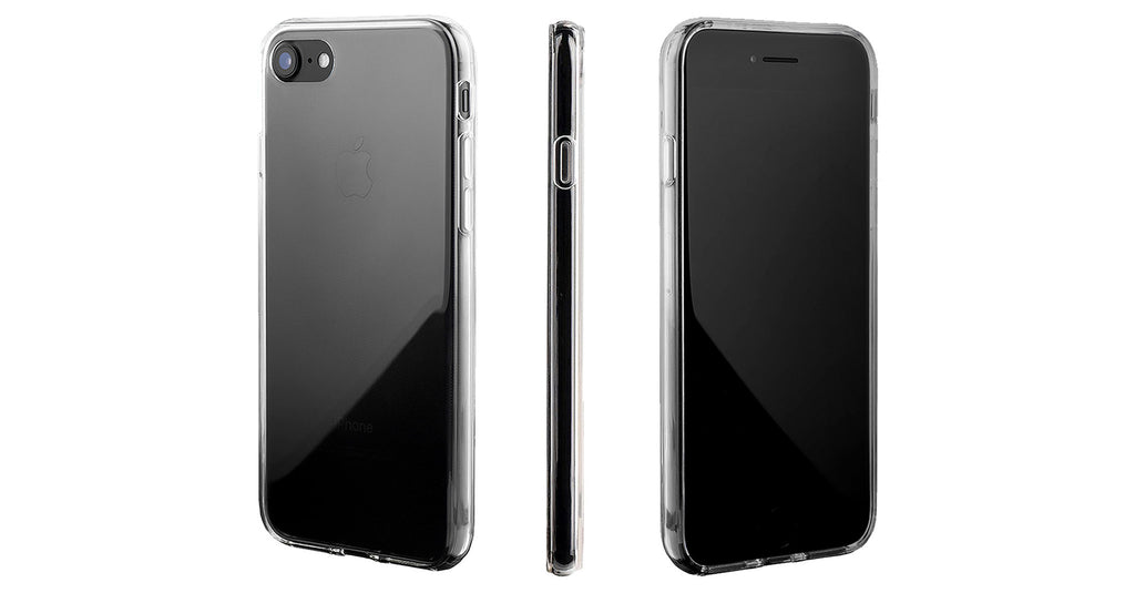 a clear iPhone 7 case on a jet black iPhone 7
