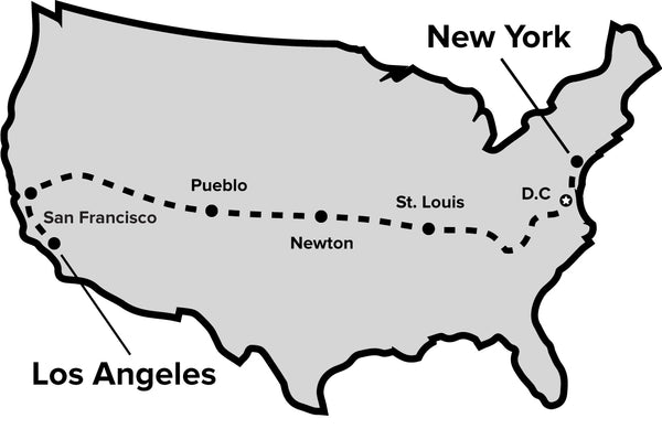 A map showing Chris' cycling journey from New York to Los Angeles