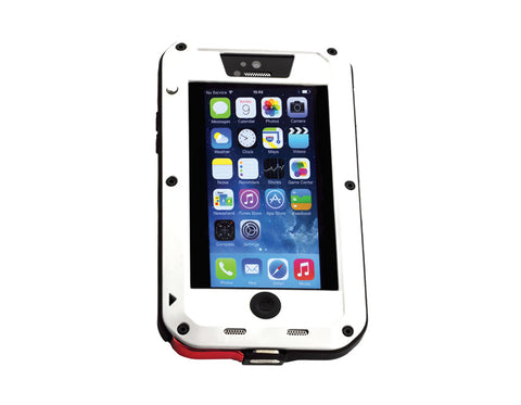 A white, heavy duty iPhone case